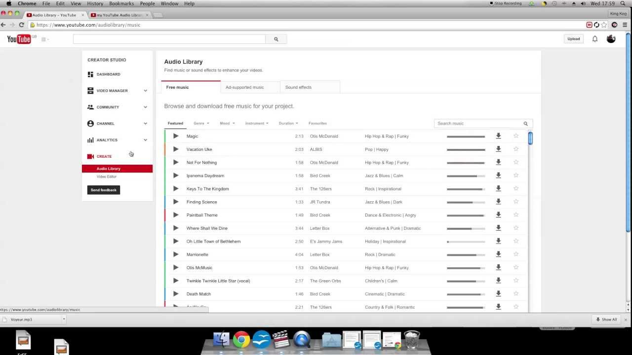 Youtube audio library how to use